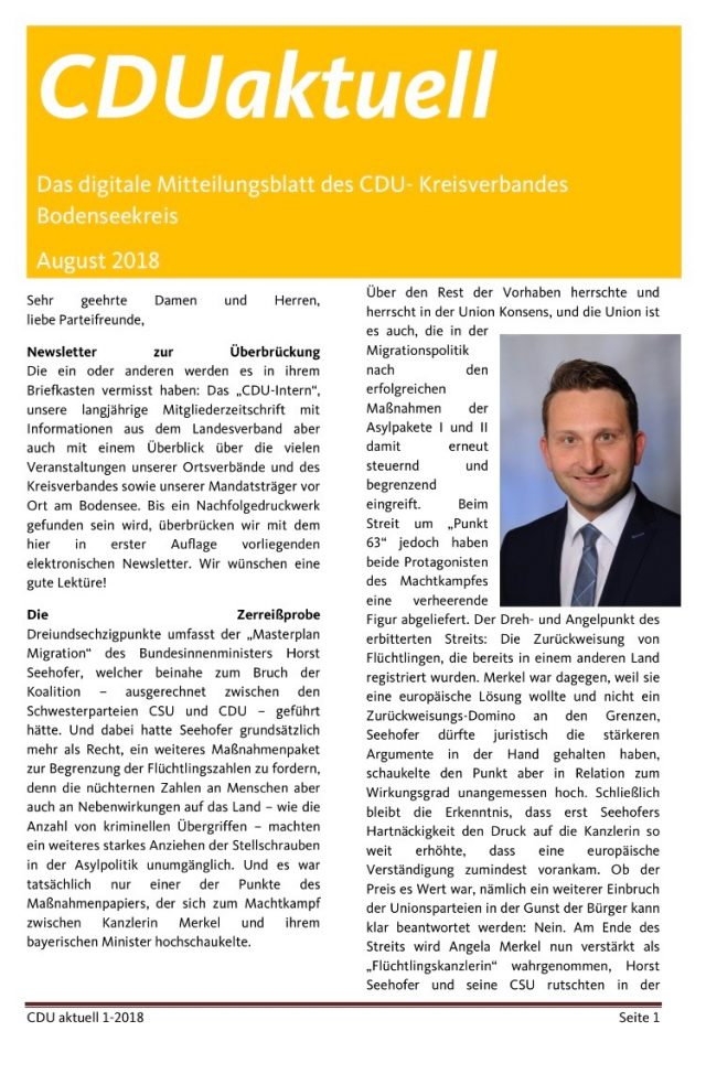 CDUaktuell August 2018