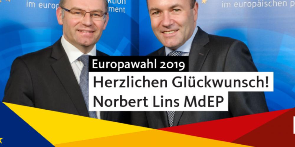 Norbert Lins erneut im Europäischen Parlament